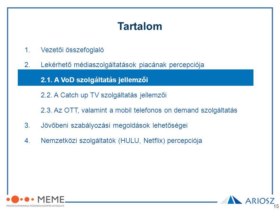 15 Tartalom 1.Vezetői összefoglaló 2.Lekérhető médiaszolgáltatások piacának percepciója 2.1. A VoD szolgáltatás jellemzői 2.2. A Catch up TV szolgálta