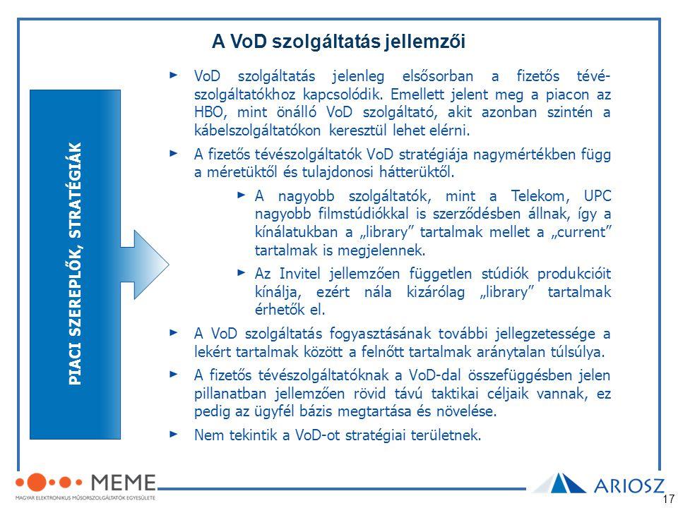 17 A VoD szolgáltatás jellemzői VoD szolgáltatás jelenleg elsősorban a fizetős tévé- szolgáltatókhoz kapcsolódik. Emellett jelent meg a piacon az HBO,
