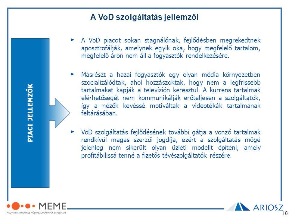 18 A VoD szolgáltatás jellemzői A VoD piacot sokan stagnálónak, fejlődésben megrekedtnek aposztrofálják, amelynek egyik oka, hogy megfelelő tartalom,