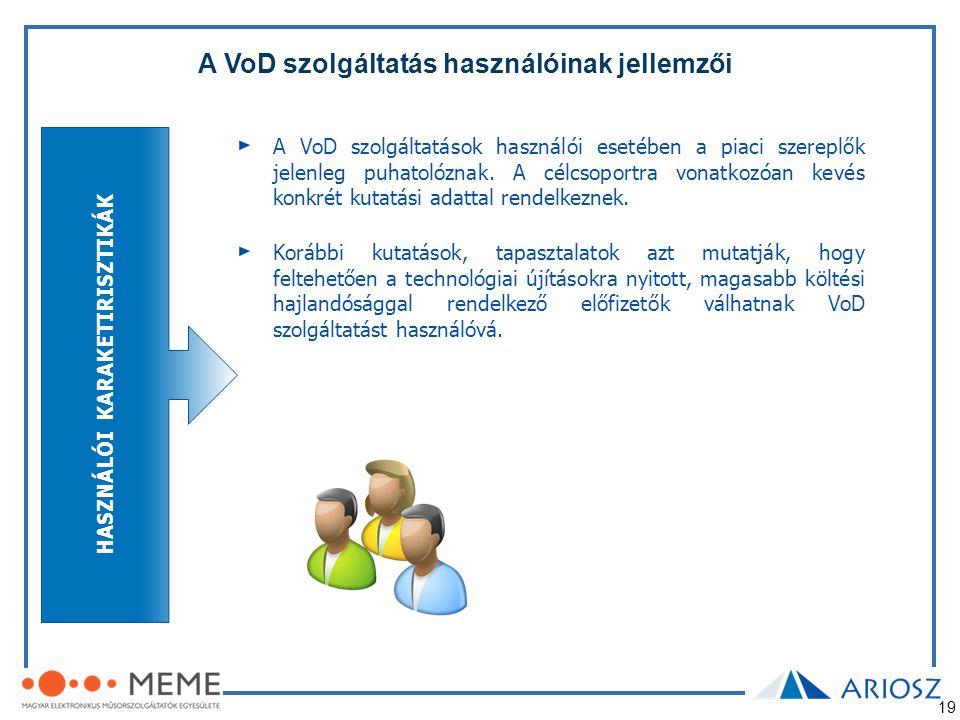 19 A VoD szolgáltatások használói esetében a piaci szereplők jelenleg puhatolóznak. A célcsoportra vonatkozóan kevés konkrét kutatási adattal rendelke