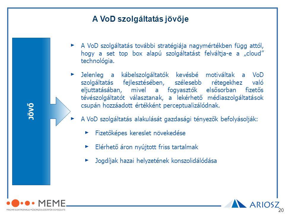 20 A VoD szolgáltatás jövője JÖVŐ A VoD szolgáltatás további stratégiája nagymértékben függ attól, hogy a set top box alapú szolgáltatást felváltja-e