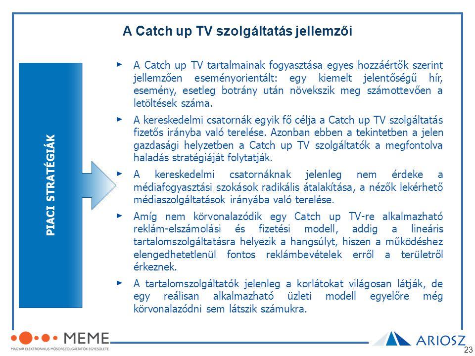 23 A Catch up TV szolgáltatás jellemzői PIACI STRATÉGIÁK A Catch up TV tartalmainak fogyasztása egyes hozzáértők szerint jellemzően eseményorientált: