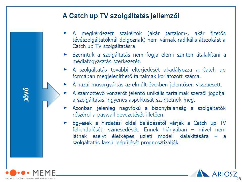 25 A Catch up TV szolgáltatás jellemzői JÖVŐ A megkérdezett szakértők (akár tartalom-, akár fizetős tévészolgáltatóknál dolgoznak) nem várnak radikáli