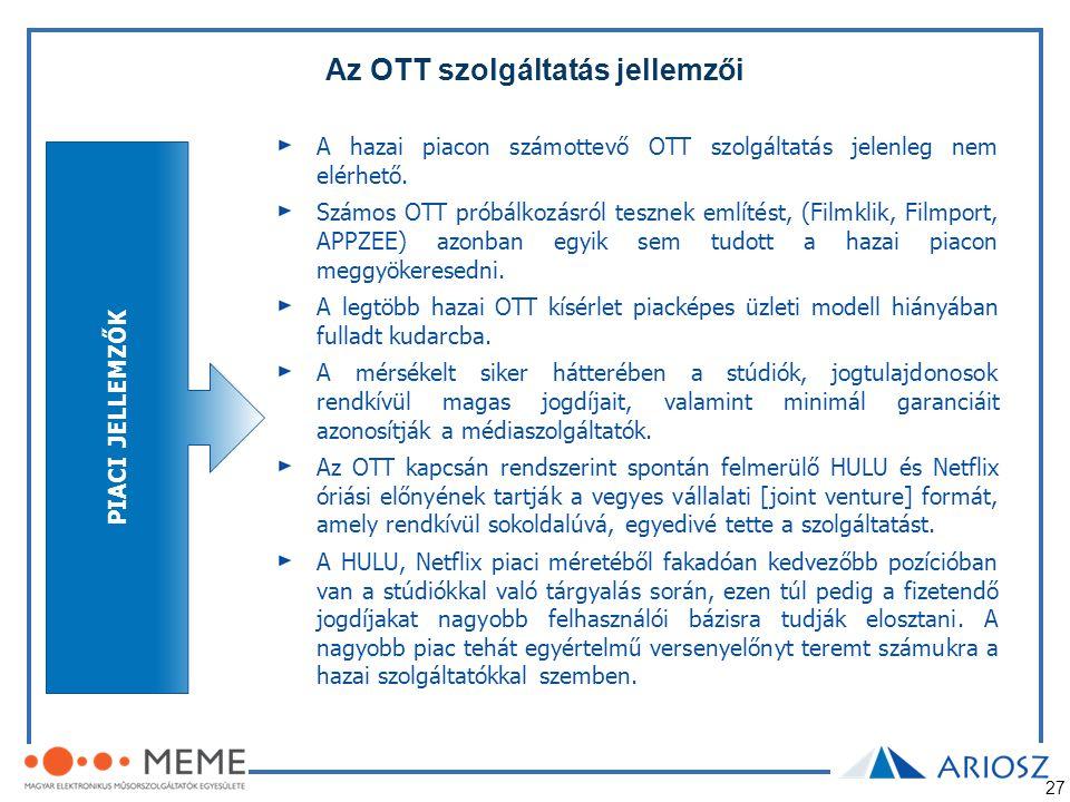 27 Az OTT szolgáltatás jellemzői PIACI JELLEMZŐK A hazai piacon számottevő OTT szolgáltatás jelenleg nem elérhető. Számos OTT próbálkozásról tesznek e