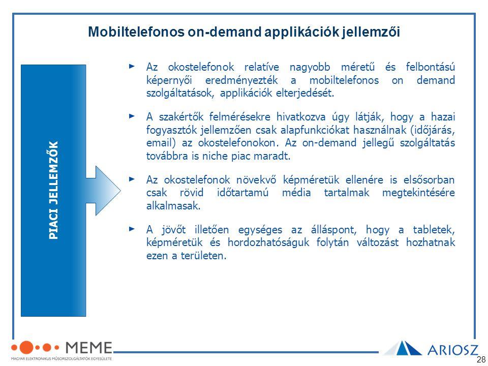 28 Mobiltelefonos on-demand applikációk jellemzői PIACI JELLEMZŐK Az okostelefonok relatíve nagyobb méretű és felbontású képernyői eredményezték a mob