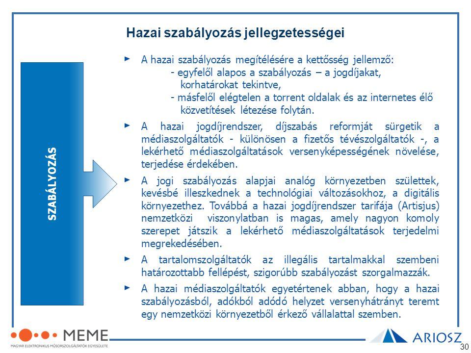 30 Hazai szabályozás jellegzetességei SZABÁLYOZÁS A hazai szabályozás megítélésére a kettősség jellemző: - egyfelől alapos a szabályozás – a jogdíjaka