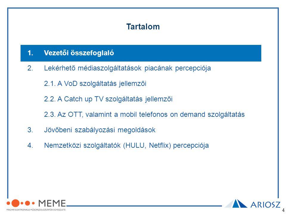 4 Tartalom 1.Vezetői összefoglaló 2.Lekérhető médiaszolgáltatások piacának percepciója 2.1. A VoD szolgáltatás jellemzői 2.2. A Catch up TV szolgáltat