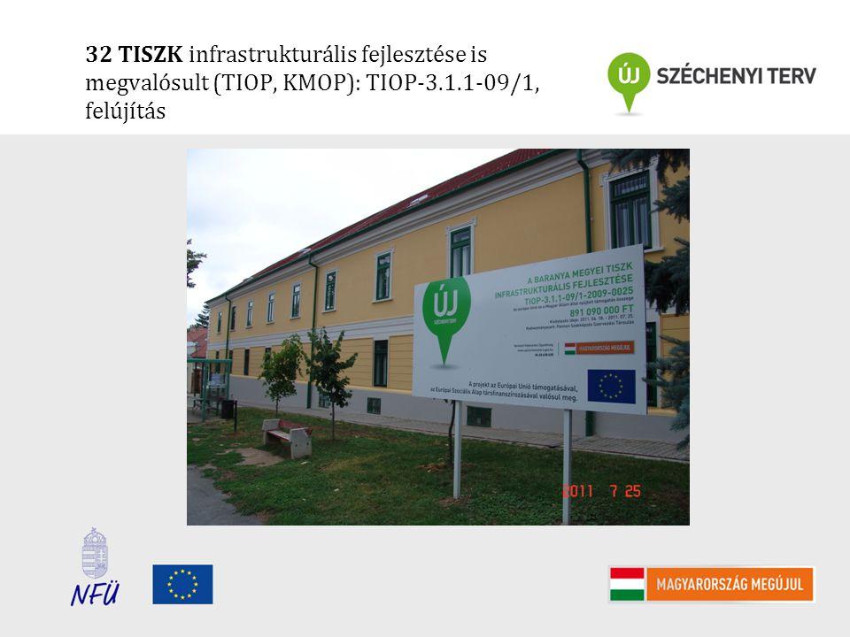 32 TISZK infrastrukturális fejlesztése is megvalósult (TIOP, KMOP): TIOP-3.1.1-09/1, felújítás