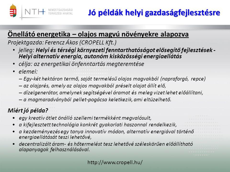 Jó példák helyi gazdaságfejlesztésre Önellátó energetika – olajos magvú növényekre alapozva Projektgazda: Ferencz Ákos (CROPELL Kft.) • jelleg: Helyi