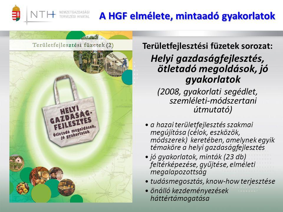 A NTH HGF tervező munkája • Az NTH feladata a helyi és a civil-gazdaságfejlesztés szakmai rendszerének koordinálása és egy szakmai koordinációs hálózat kialakítása és működtetése, • a HGF keretében az NTH kiemelt programokkal, az innováció, a kisvállalkozások, valamint a képzés-fejlesztés tervezésével foglalkozik, • a 2014–20-as uniós finanszírozású fejlesztési ciklusra való felkészülési feladatok között a HGF támogatásának tervezését támogatja, koordinálja, • az NTH összegyűjti a fenntartható helyi gazdaságfejlesztés hazai és nemzetközi eredményeit, legjobb gyakorlatait, megoldásait, amelyeket rendszerezés után az NTH honlapján publikál.
