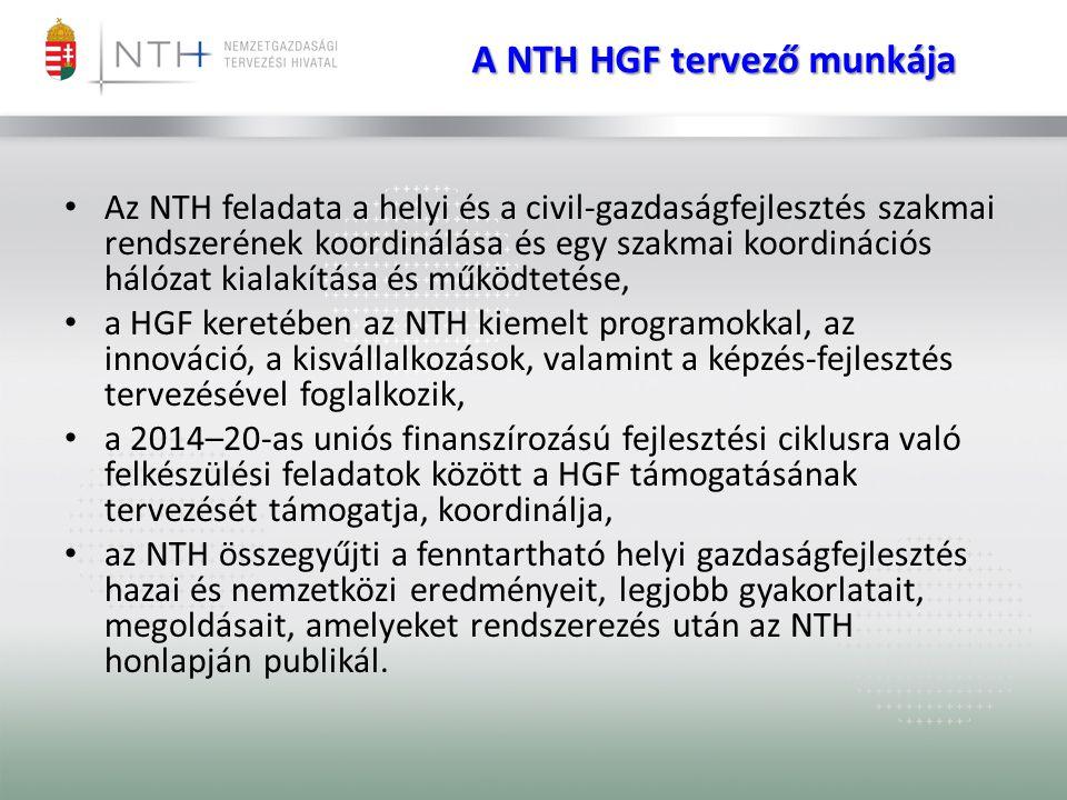 A NTH HGF tervező munkája • Az NTH feladata a helyi és a civil-gazdaságfejlesztés szakmai rendszerének koordinálása és egy szakmai koordinációs hálóza