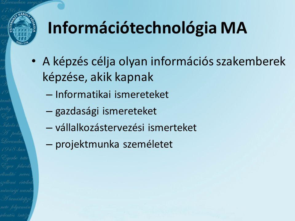 Információtechnológia MA • A képzés célja olyan információs szakemberek képzése, akik kapnak – Informatikai ismereteket – gazdasági ismereteket – vállalkozástervezési ismerteket – projektmunka személetet