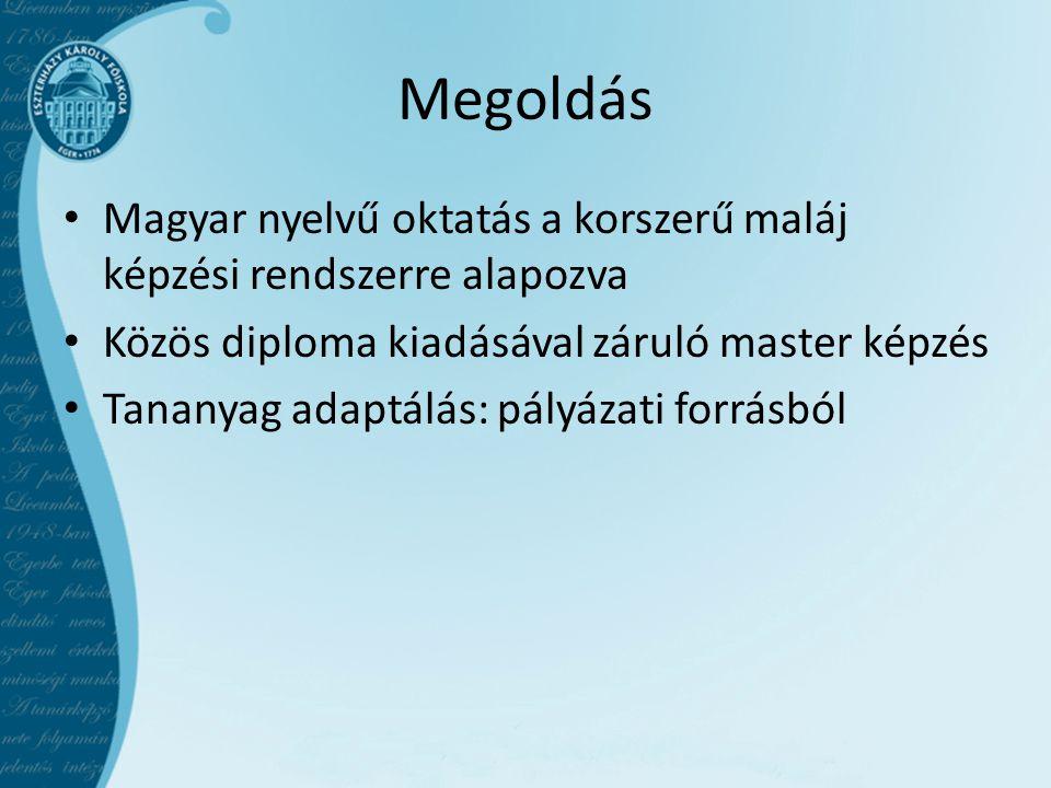 Megoldás • Magyar nyelvű oktatás a korszerű maláj képzési rendszerre alapozva • Közös diploma kiadásával záruló master képzés • Tananyag adaptálás: pályázati forrásból