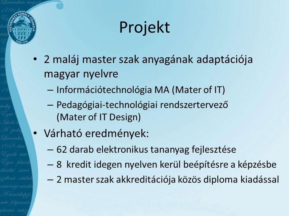 Projekt • 2 maláj master szak anyagának adaptációja magyar nyelvre – Információtechnológia MA (Mater of IT) – Pedagógiai-technológiai rendszertervező (Mater of IT Design) • Várható eredmények: – 62 darab elektronikus tananyag fejlesztése – 8 kredit idegen nyelven kerül beépítésre a képzésbe – 2 master szak akkreditációja közös diploma kiadással