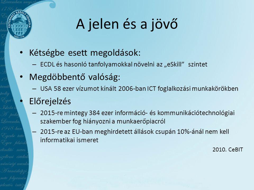 """A jelen és a jövő • Kétségbe esett megoldások: – ECDL és hasonló tanfolyamokkal növelni az """"eSkill szintet • Megdöbbentő valóság: – USA 58 ezer vízumot kínált 2006-ban ICT foglalkozási munkakörökben • Előrejelzés – 2015-re mintegy 384 ezer információ- és kommunikációtechnológiai szakember fog hiányozni a munkaerőpiacról – 2015-re az EU-ban meghirdetett állások csupán 10%-ánál nem kell informatikai ismeret 2010."""