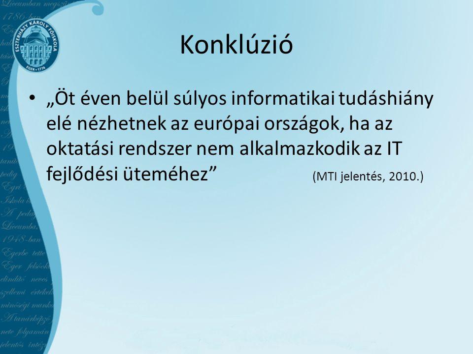 """Konklúzió • """"Öt éven belül súlyos informatikai tudáshiány elé nézhetnek az európai országok, ha az oktatási rendszer nem alkalmazkodik az IT fejlődési üteméhez (MTI jelentés, 2010.)"""