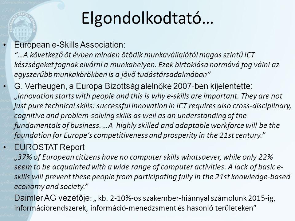 Elgondolkodtató… •European e-Skills Association: …A következő öt évben minden ötödik munkavállalótól magas szintű ICT készségeket fognak elvárni a munkahelyen.