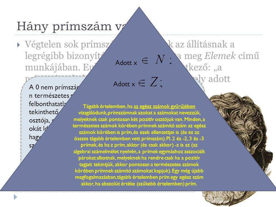 Hány prímszám van?  Végtelen sok prímszám van. Ennek az állításnak a legrégibb bizonyítását Euklidész adta meg Elemek című munkájában. Euklidész állí