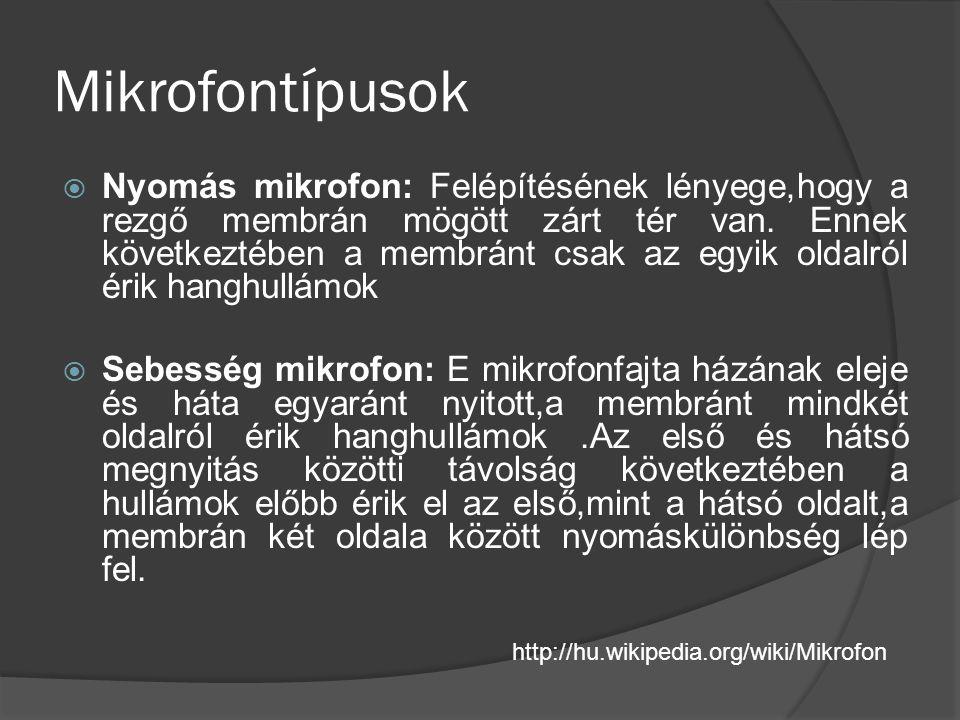Mikrofontípusok  Nyomás mikrofon: Felépítésének lényege,hogy a rezgő membrán mögött zárt tér van. Ennek következtében a membránt csak az egyik oldalr