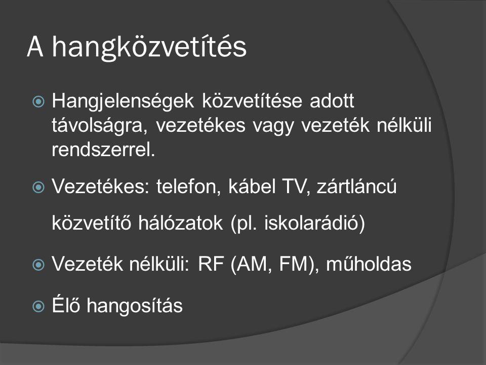 A hangközvetítés  Hangjelenségek közvetítése adott távolságra, vezetékes vagy vezeték nélküli rendszerrel.  Vezetékes: telefon, kábel TV, zártláncú