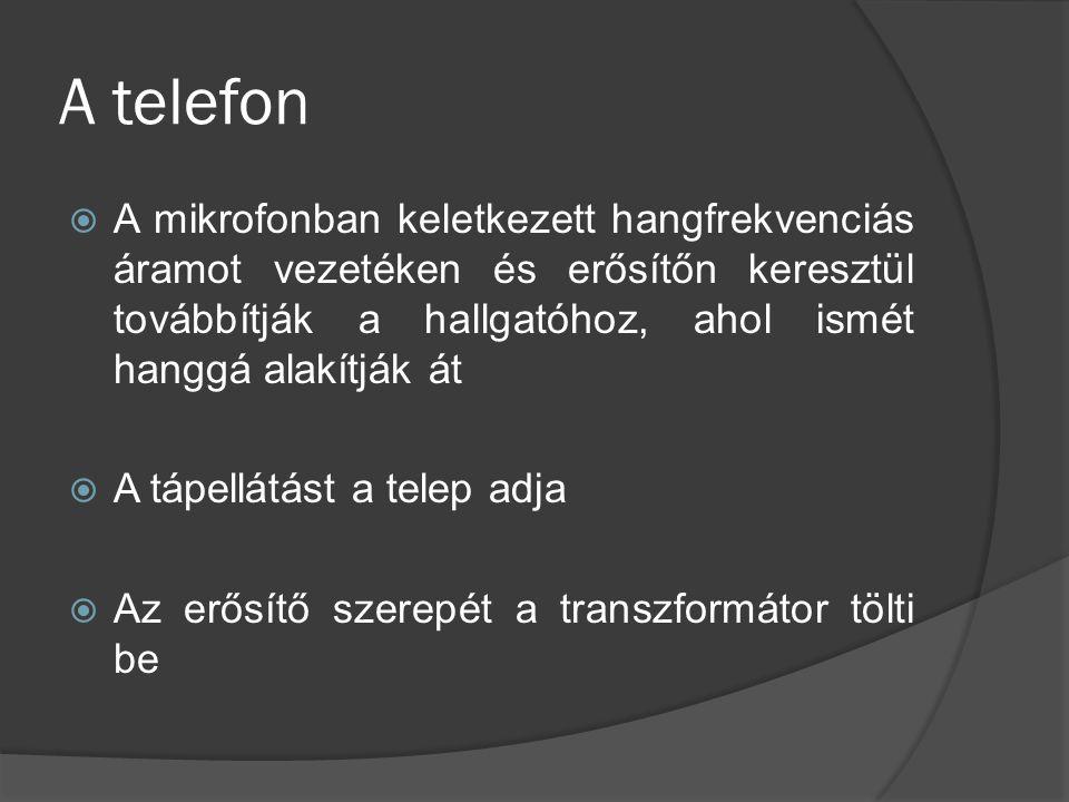 A telefon  A mikrofonban keletkezett hangfrekvenciás áramot vezetéken és erősítőn keresztül továbbítják a hallgatóhoz, ahol ismét hanggá alakítják át
