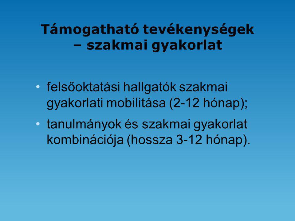 Támogatható tevékenységek – szakmai gyakorlat •felsőoktatási hallgatók szakmai gyakorlati mobilitása (2-12 hónap); •tanulmányok és szakmai gyakorlat kombinációja (hossza 3-12 hónap).