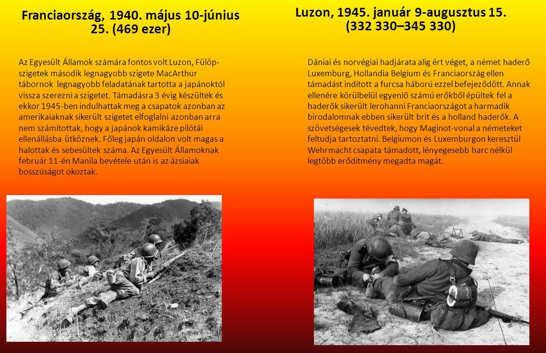 Franciaország, 1940. május 10-június 25. (469 ezer) Luzon, 1945. január 9-augusztus 15. (332 330–345 330) Az Egyesült Államok számára fontos volt Luzo