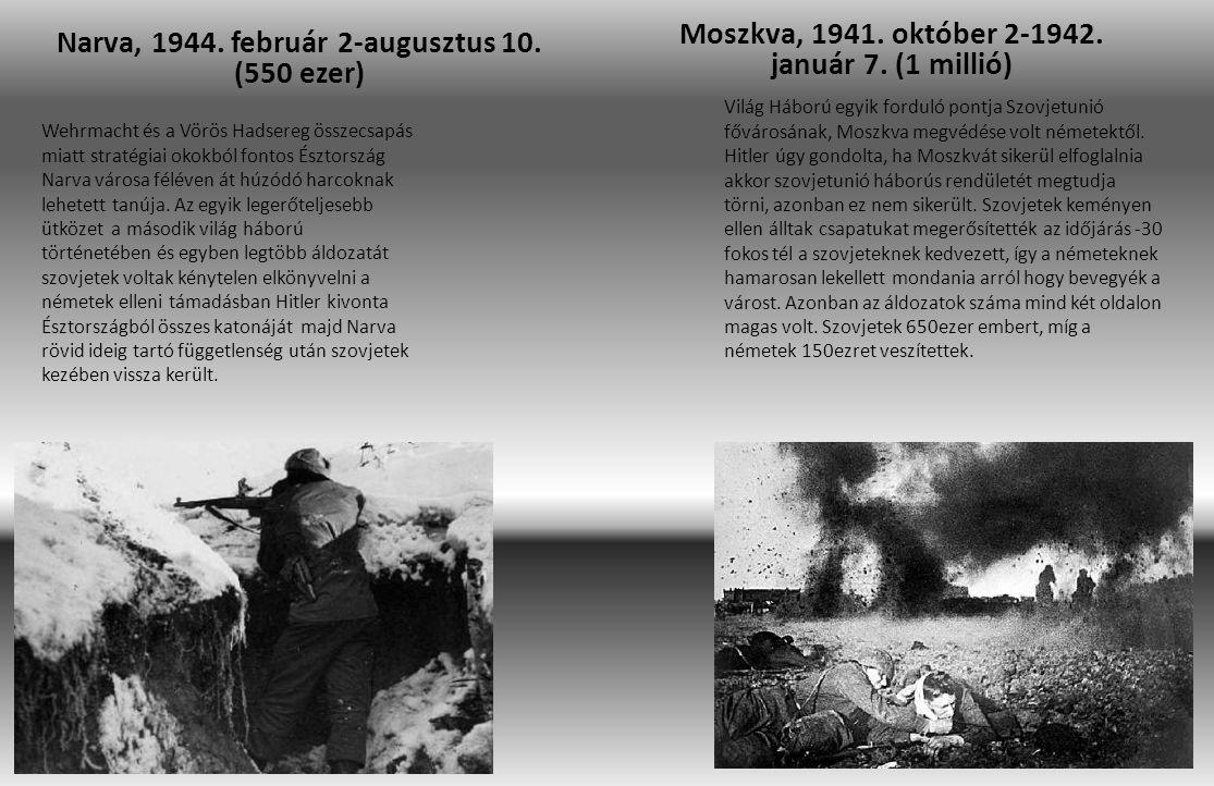 Narva, 1944. február 2-augusztus 10. (550 ezer) Moszkva, 1941. október 2-1942. január 7. (1 millió) Wehrmacht és a Vörös Hadsereg összecsapás miatt st