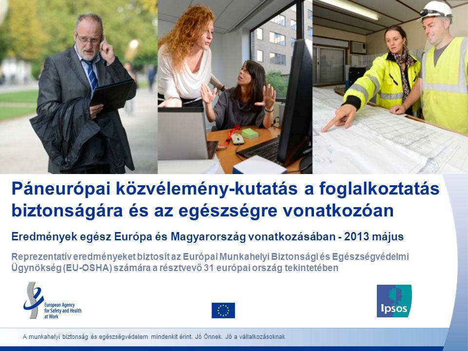 2 http://osha.europa.eu Közvélemény-kutatás felépítése Statisztikai tömeg: Legalább 18 éves, az adott országban lakó és az adott nyelven beszélő teljes munkaidőben vagy részmunkaidőben foglalkoztatott dolgozók és önálló vállalkozók Minta: Reprezentatív minta mind a 31 résztvevő európai országban Súlyozás: Az adatok súlyozása úgy történt, hogy a dolgozó népesség kor, nem és régió szerinti eloszlását tükrözzék.