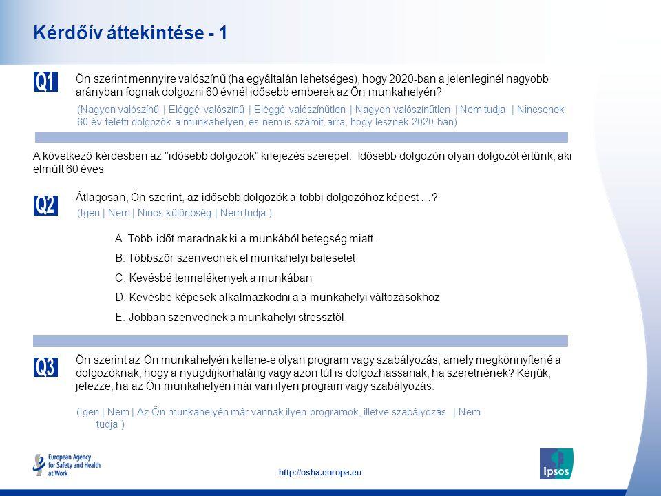 25 http://osha.europa.eu Olyan programok és szabályzatok, amik lehetővé teszik a hosszabb ideig történő foglalkoztatást Kérjük, mondja meg, ha már rendelkeznek a munkahelyén olyan programokkal vagy szabályzatokkal, amelyek elősegítik a dolgozók számára, hogy a nyugdíjkorhatárig vagy azon túl is dolgozhassanak.