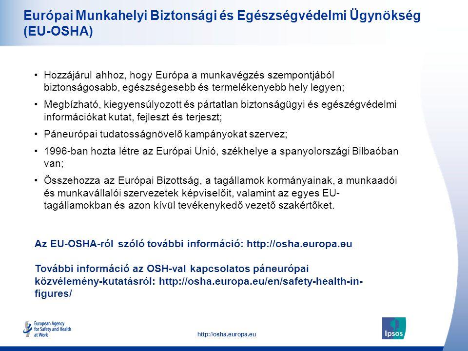 52 http://osha.europa.eu Európai Munkahelyi Biztonsági és Egészségvédelmi Ügynökség (EU-OSHA) •Hozzájárul ahhoz, hogy Európa a munkavégzés szempontjáb
