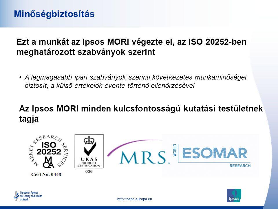 53 http://osha.europa.eu Ezt a munkát az Ipsos MORI végezte el, az ISO 20252-ben meghatározott szabványok szerint Minőségbiztosítás Az Ipsos MORI mind