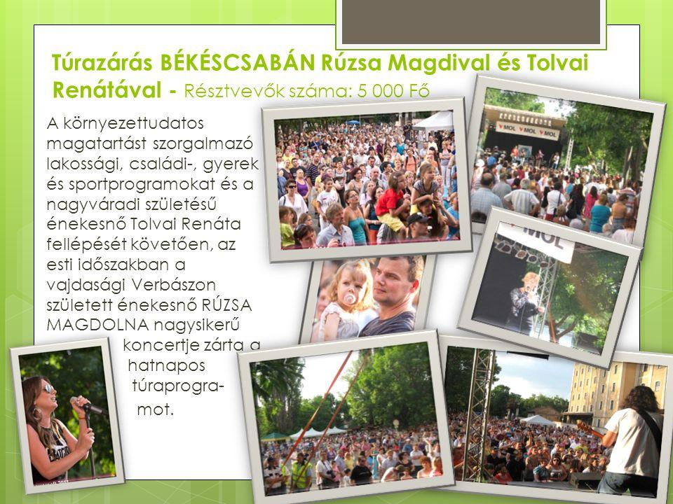 Túrazárás BÉKÉSCSABÁN Rúzsa Magdival és Tolvai Renátával - Résztvevők száma: 5 000 Fő A környezettudatos magatartást szorgalmazó lakossági, családi-,
