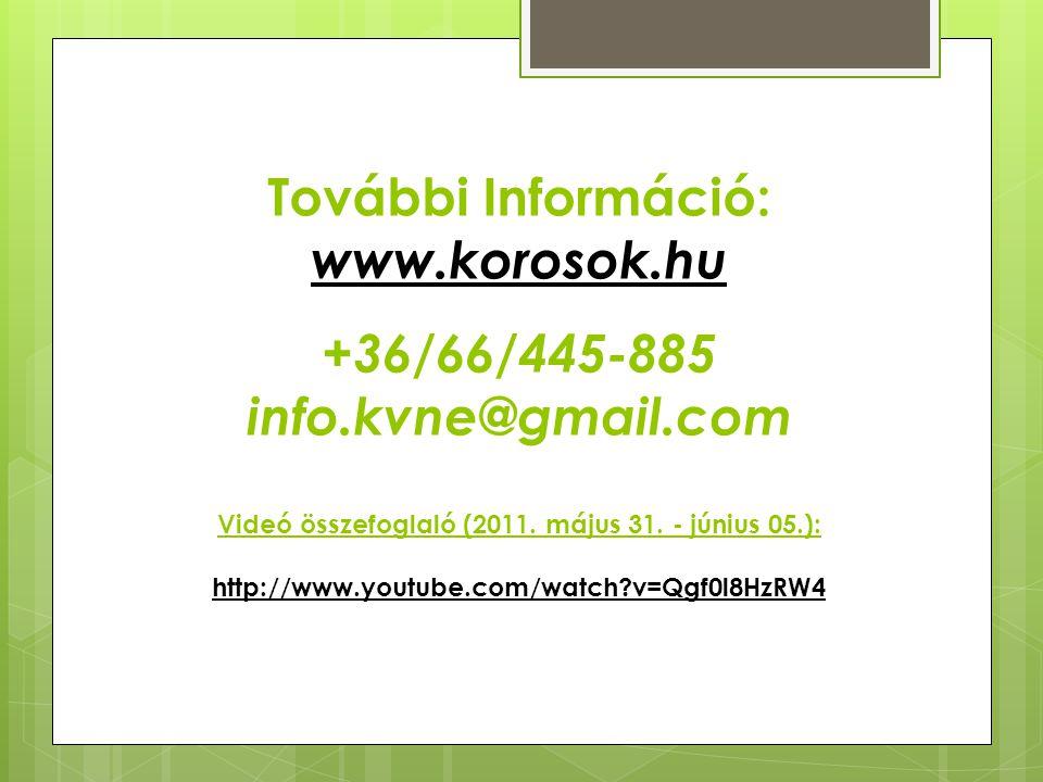 További Információ: www.korosok.hu +36/66/445-885 info.kvne@gmail.com Videó összefoglaló (2011. május 31. - június 05.): http://www.youtube.com/watch?