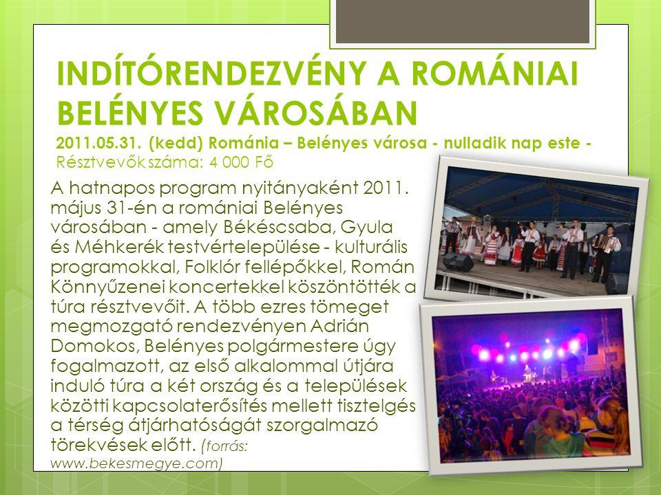 INDÍTÓRENDEZVÉNY A ROMÁNIAI BELÉNYES VÁROSÁBAN 2011.05.31. (kedd) Románia – Belényes városa - nulladik nap este - Résztvevők száma: 4 000 Fő A hatnapo