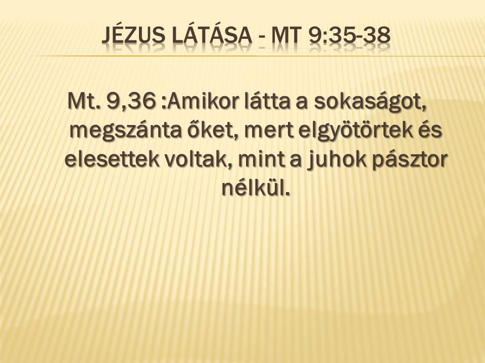 Mt. 9,36 :Amikor látta a sokaságot, megszánta őket, mert elgyötörtek és elesettek voltak, mint a juhok pásztor nélkül.