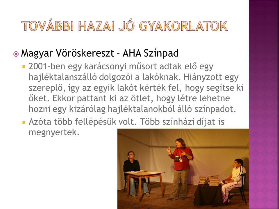  Magyar Vöröskereszt – AHA Színpad  2001-ben egy karácsonyi műsort adtak elő egy hajléktalanszálló dolgozói a lakóknak.