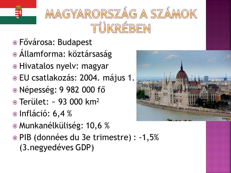  Fővárosa: Budapest  Államforma: köztársaság  Hivatalos nyelv: magyar  EU csatlakozás: 2004.