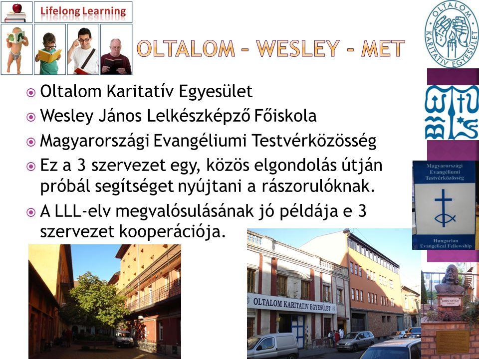  Oltalom Karitatív Egyesület  Wesley János Lelkészképző Főiskola  Magyarországi Evangéliumi Testvérközösség  Ez a 3 szervezet egy, közös elgondolás útján próbál segítséget nyújtani a rászorulóknak.