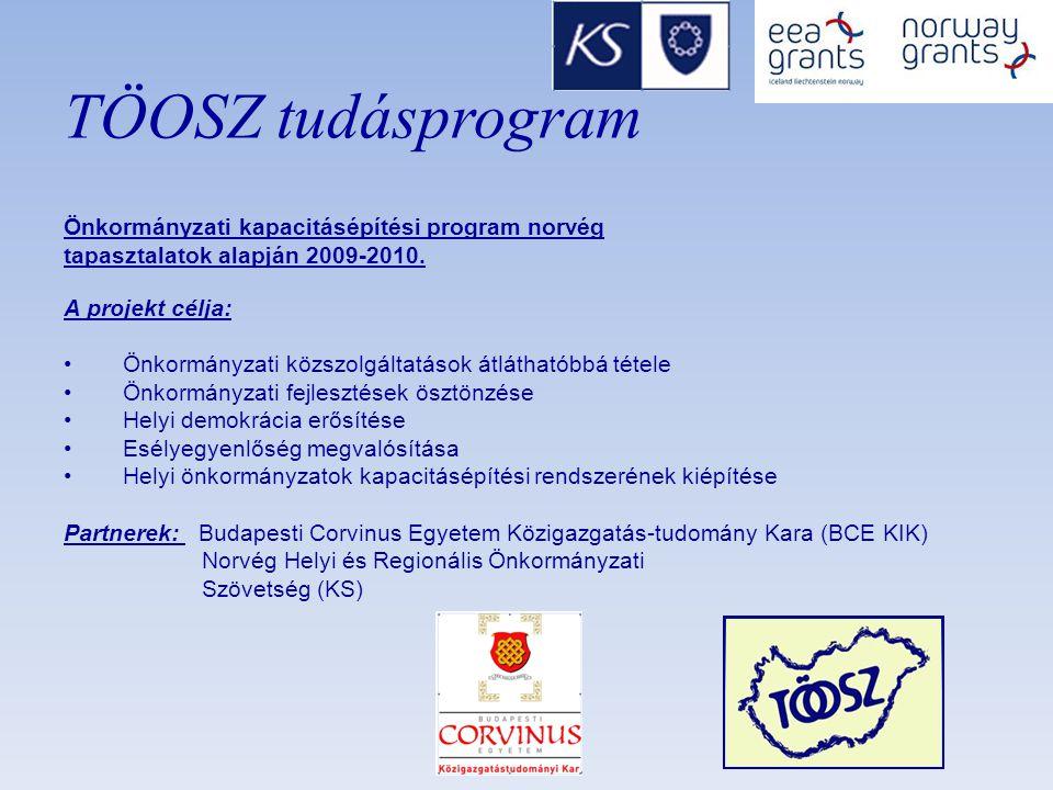 TÖOSZ tudásprogram Önkormányzati kapacitásépítési program norvég tapasztalatok alapján 2009-2010.