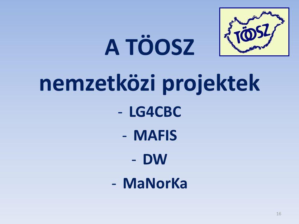 A TÖOSZ nemzetközi projektek -LG4CBC -MAFIS -DW -MaNorKa 16