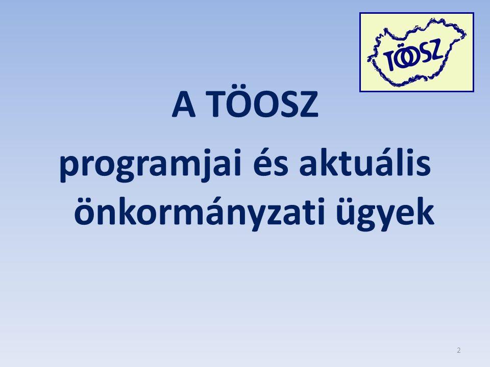 A TÖOSZ programjai és aktuális önkormányzati ügyek 2