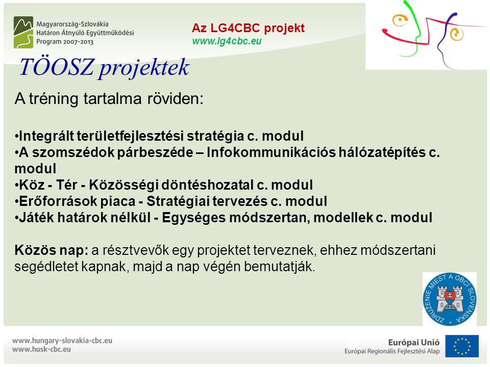"""Az LG4CBC projekt www.lg4cbc.eu L OCAL G OVERNMENTS FOR C ROSS B ORDER C OOPERATION ZMOS és TÖOSZ összefogás a határon átnyúló együttműködésért """"Önkormányzati kapacitásépítés projekt HUSK/1101/1.5.1/0176 Az LG4CBC projekt www.lg4cbc.eu A tréning tartalma röviden: •Integrált területfejlesztési stratégia c."""