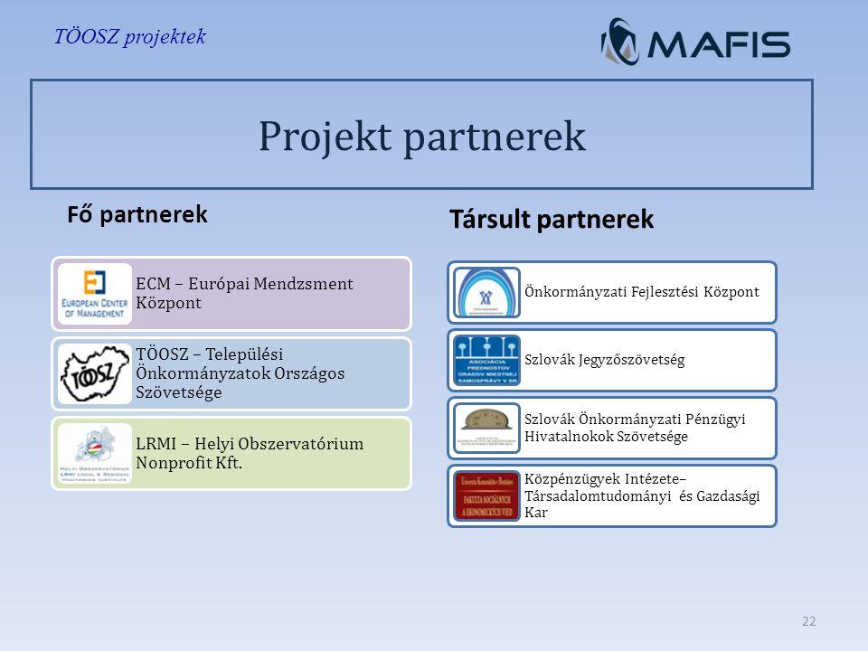 Projekt partnerek Fő partnerek ECM – Európai Mendzsment Központ TÖOSZ – Települési Önkormányzatok Országos Szövetsége LRMI – Helyi Obszervatórium Nonprofit Kft.