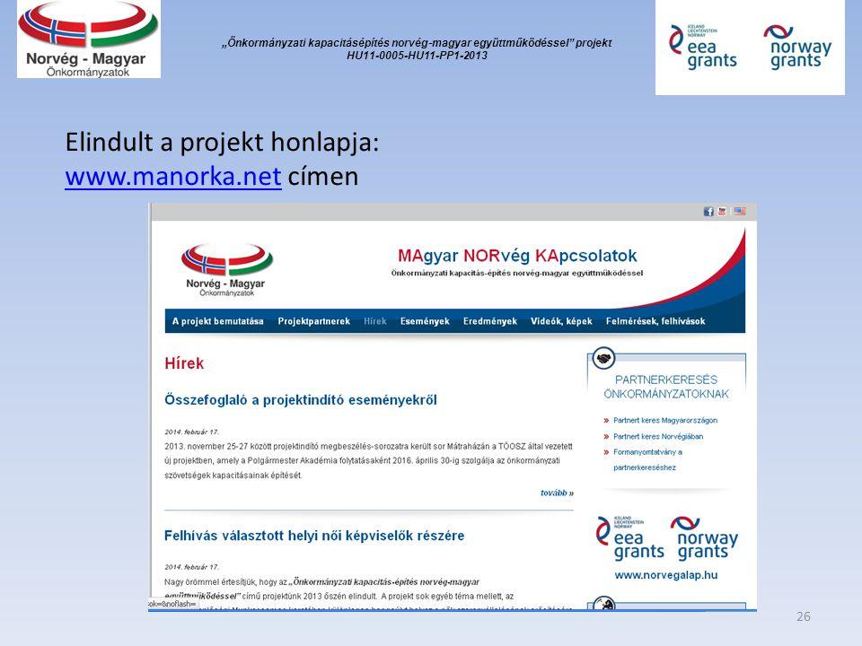 """""""Önkormányzati kapacitásépítés norvég ‐ magyar együttműködéssel projekt HU11-0005-HU11-PP1-2013 Elindult a projekt honlapja: www.manorka.netwww.manorka.net címen 26"""