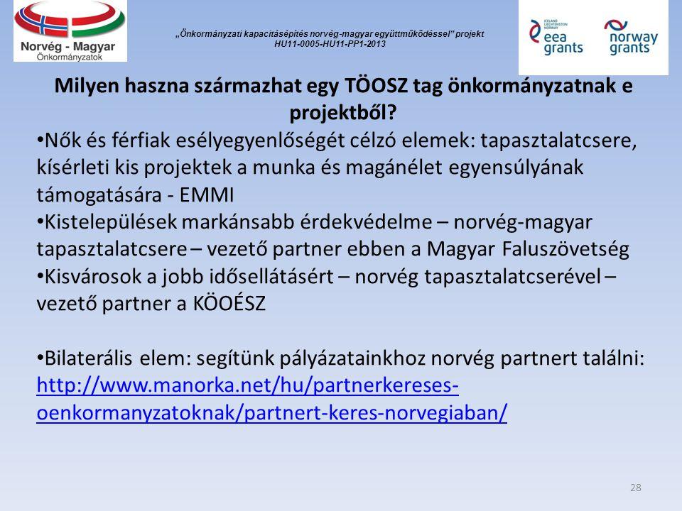 """""""Önkormányzati kapacitásépítés norvég ‐ magyar együttműködéssel projekt HU11-0005-HU11-PP1-2013 Milyen haszna származhat egy TÖOSZ tag önkormányzatnak e projektből."""