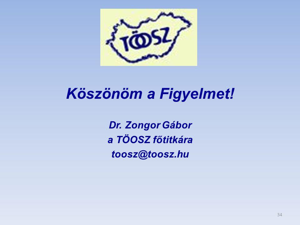 Köszönöm a Figyelmet! Dr. Zongor Gábor a TÖOSZ főtitkára toosz@toosz.hu 34
