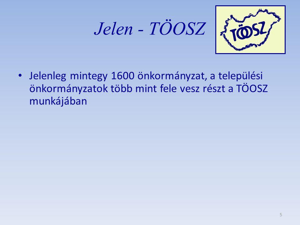 Jelen - TÖOSZ • Jelenleg mintegy 1600 önkormányzat, a települési önkormányzatok több mint fele vesz részt a TÖOSZ munkájában 5