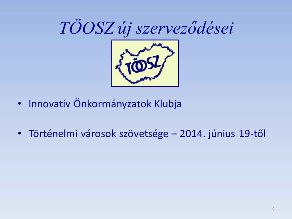 TÖOSZ új szerveződései • Innovatív Önkormányzatok Klubja • Történelmi városok szövetsége – 2014.
