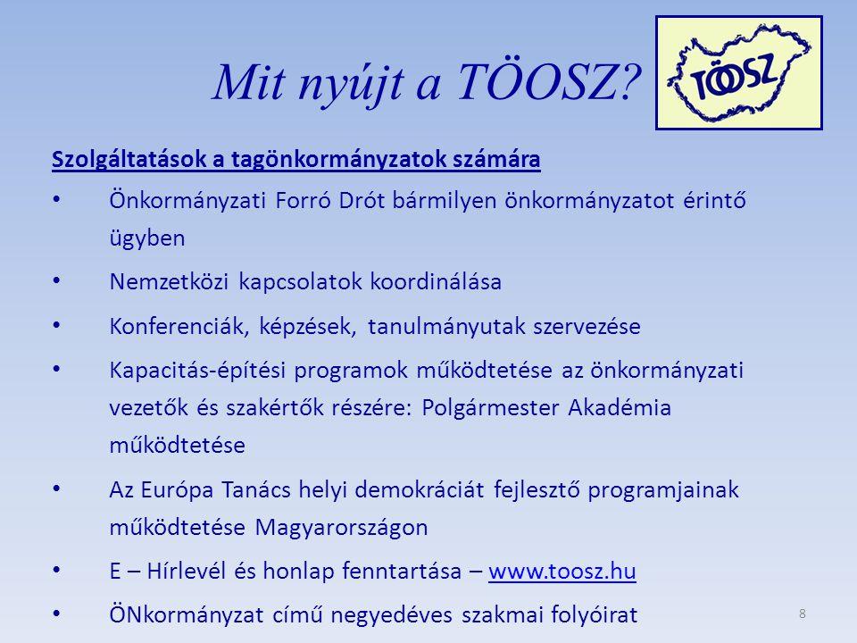 Szolgáltatások a tagönkormányzatok számára • Önkormányzati Forró Drót bármilyen önkormányzatot érintő ügyben • Nemzetközi kapcsolatok koordinálása • Konferenciák, képzések, tanulmányutak szervezése • Kapacitás-építési programok működtetése az önkormányzati vezetők és szakértők részére: Polgármester Akadémia működtetése • Az Európa Tanács helyi demokráciát fejlesztő programjainak működtetése Magyarországon • E – Hírlevél és honlap fenntartása – www.toosz.huwww.toosz.hu • ÖNkormányzat című negyedéves szakmai folyóirat Mit nyújt a TÖOSZ.